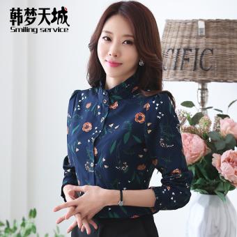 ... Korea Fashion Style ditambah beludru wanita yang hangat lengan panjang kemeja kemeja 812 biru