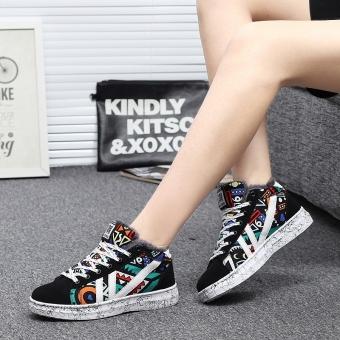 Korea Fashion Style ditambah beludru wanita yang hangat sepatu tinggi atas kanvas sepatu (Hitam dan