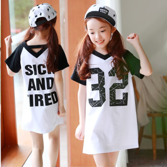 Korea Fashion Style Gadis Lengan Pendek Gaun (Putih) (Putih)