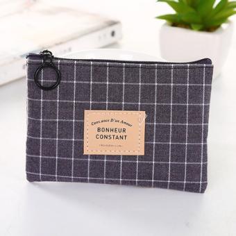 Korea Fashion Style Kain Perempuan Dompet Uang Receh Pria Dompet Kecil (Kotak-kotak Abu