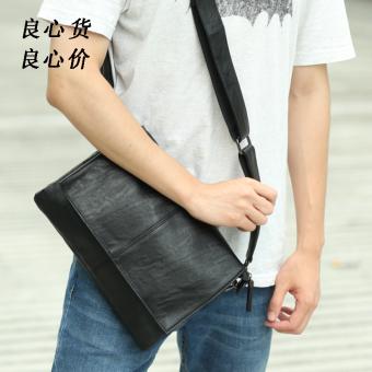 Korea Fashion Style Kulit Lembut Selempang Miring Tas Kecil Pria Bahu Tas (Hitam)