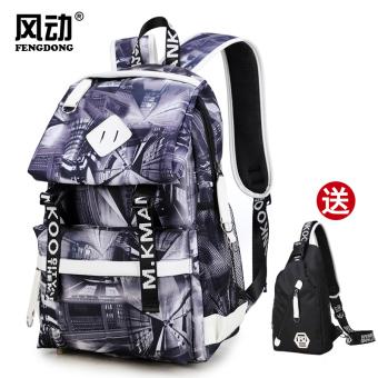 Tas Siswa Sekolah Menengah Tas Ransel Korea Fashion Style Pria Remaja (MRT Dicetak [Untuk