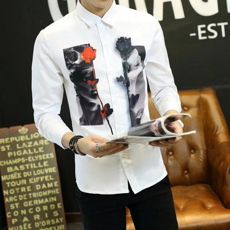 ... Hot Deals Korea Fashion Style Laki laki Slim Remaja Kemeja Putih Lengan Panjang Dicetak Kemeja