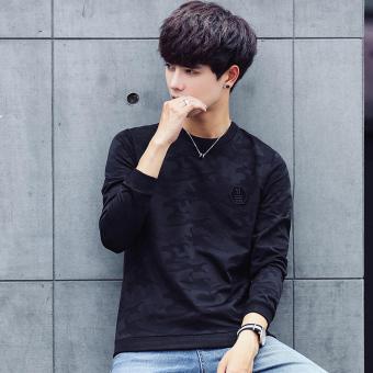 Harga Korea Fashion Style Musim Gugur Baru Kamuflase Pria Kemeja T Shirt Hitam Online
