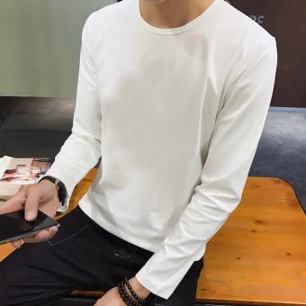 Korea Modis Gaya Musim Gugur Baru Ramping Kaus (Leher Bulat Warna Polos- Putih)