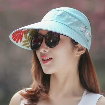 Topi Matahari Korea Fashion Style Musim Panas Topi Pantai Kasual (Biru tua)