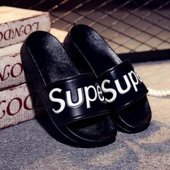 Sandal Slide Wanita Sol Tebal Anti Selip Versi Korea (S Kartu Sandal Jepit Semua Hitam