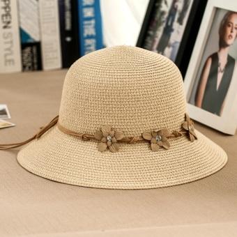 Topi Jerami Topi Bunga Topi Pelindung Sinar Matahari Korea Fashion Style  Musim Panas (Beige) 1bc1e0d7ac