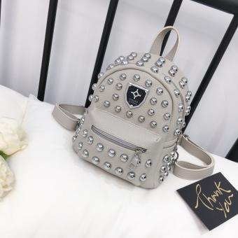 Korea Fashion Style paku keling perempuan kecil tas ransel tas wanita (Abu-abu)