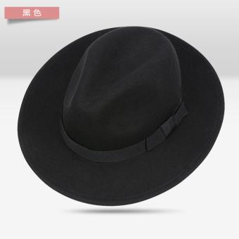 Korea Fashion Style Pantai Wol Hitam Datar Topi Pelindung Sinar Matahari  Modis Upacara Kecil Topi ( 36fe1cfa02