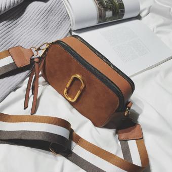 Korea Fashion Style Perempuan Baru Lulur Kotak Tali Bahu Lebar Messenger Tas Tas (Coklat)