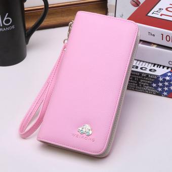 Korea Fashion Style perempuan baru multifungsi ritsleting dompet clutch tas (Merah muda-5032 mobil