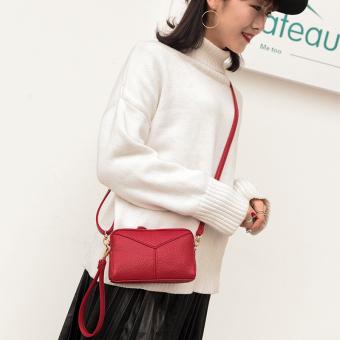 Korea Fashion Style Baru Kapasitas Besar Tas Genggam Tas HP (Bahu Merah Marun)