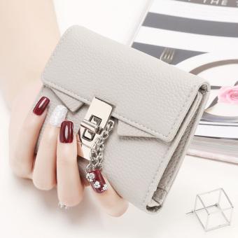 Korea Fashion Style perempuan tiga kali lipat gesper dompet wanita kecil dompet (Abu-abu