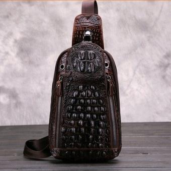 Tas Dada Pria Kulit Asli Pola Kulit Buaya Versi Korea (Coklat gelap) (Coklat 6e031f0d12