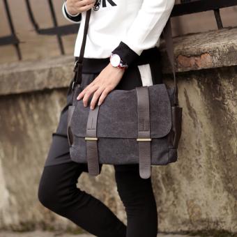 Korea Fashion Style pria perjalanan diagonal tas cowok bahu tas (Hitam)