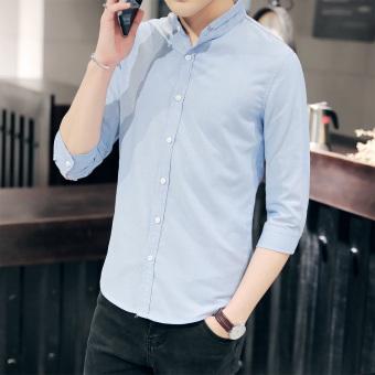 Kemeja Musim Panas Kemeja Putih Korea Modis Gaya Pria (Langit Biru)