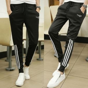 Korea Fashion Style Slim Panjang Celana Pria Kasual Celana (Di Bawah Tiga Tongkat Biru Bagian