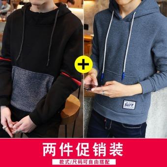 Korea Modis Gaya Tambah Beludru Musim Semi atau Gugur Pria Baju Dalaman Jaket Baseball (A301