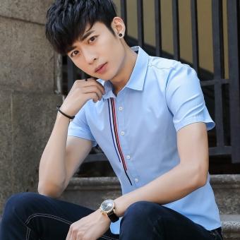 Kemeja Lengan Pendek Kemeja Putih Korea Fashion Style Warna Polos Pria