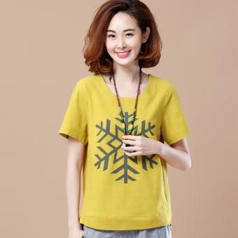Korea longgar lengan pendek katun dicetak leher bulat t-shirt (Kepingan salju model jahe