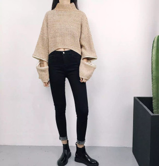 Korean-style autumn New style three color jeans (Hitam)