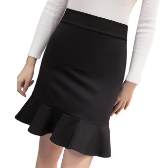 Korean-style female autumn New style Skirt (Hitam)