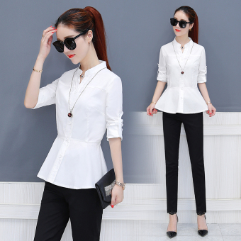 Korean-style female long-sleeved New style casual Top autumn shirt (Putih)