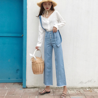 Korean-style New style high-waisted LOOESN strap jeans (Gambar warna)