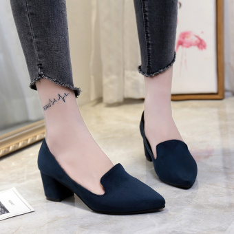 Korean-style suede gray spring and autumn thick with shoes (Biru-model telanjang