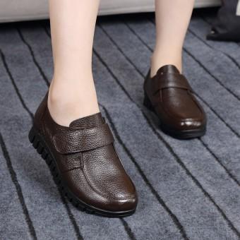 2018 model baru Kulit asli Tambah beludru sepatu hak perempuan sol datar Sepatu  kulit teplek Mama cb65fbdec1