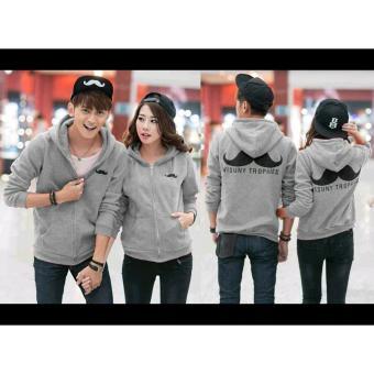 kyoko fashion jaket couple kumis - (grey)