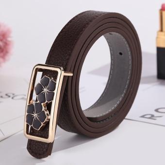 Ladies Vintage Belt Casual Buckle Belt Fashionable Leather Belt Cute Pattern Coffee - intl