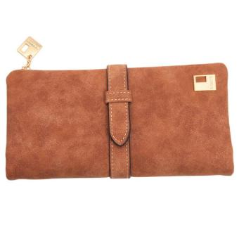 ... LALANG New Women Wallets Drawstring PU Leather Zipper Two Fold Long Design Purse Khaki