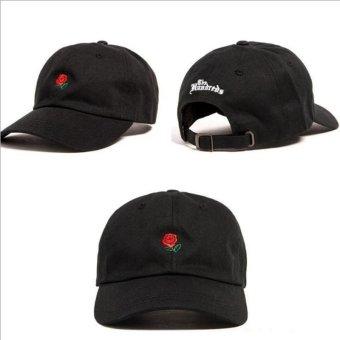 Snapback Bisbol Topi Bordir Bunga Melengkung Drake Sanpback Hip Hop Hat (Hitam) LALANG-