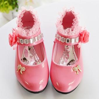LCFU764 Fashion Anak Perempuan Sepatu Putri Bunga Her Dansa Berwarna Merah Muda