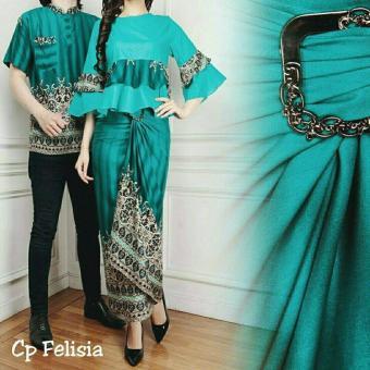 legiONshop-busana batik dress pasangan dress couple baju batik couple FELISIA tosca