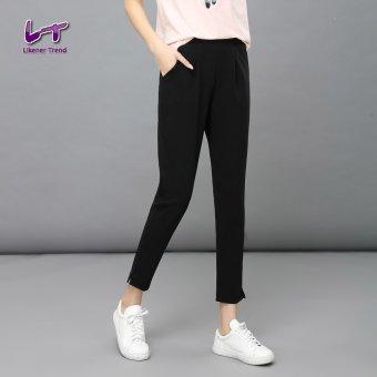 Likener Trend Pergelangan Kesemek Kasual Panjang Lutut Celana Ukuran Better Celana Harem (Hitam)