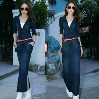 long dress denim set with inner dress wanita modern pakaian wanita
