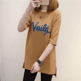 T-shirt Pendek Huruf Longgar Wanita Gaya Korea