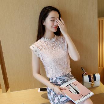 Longgar Korea Fashion Style Adalah Lapisan Tipis Tanpa Lengan Kemeja Renda (Merah muda) (