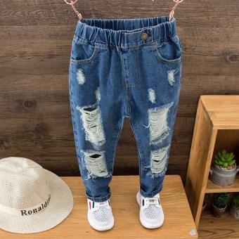Mengguoguo Celana Jeans Anak Laki-Laki Berlubang Versi Korea (Celana Yang Mendalam Pinggang Tepi