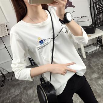 Kaos Lengan Panjang Longgar Wanita Gaya Korea (Putih) (Putih)