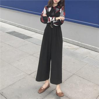 Longgar Korea Fashion Style Hitam Pinggang Tinggi Tali Bra Vest Sepotong Celana (Hitam) (