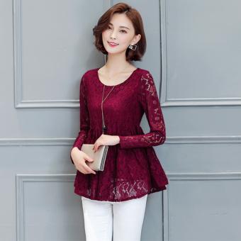Baju Dalaman Korea Fashion Style Baru Bagian Panjang Lengan Panjang Kemeja Kecil (Arak Anggur Warna