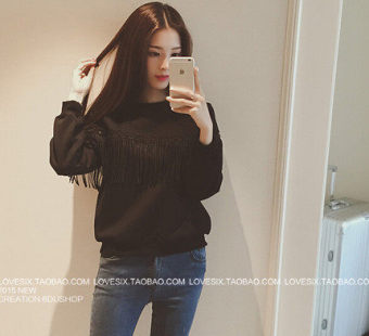 Kaos Oblong Wanita Model Pendek Lengan Panjang Versi Korea (Hitam) (Hitam)