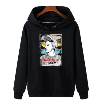 Longgar Pria Berkerudung Sweter Tanpa Kancing Atasan Kaos Sweater (Pesona Pria Hitam)