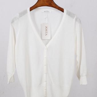 Terlihat Langsing longgar model pendek pakaian luar musim panas sangat tipis Sutra Es Baju pelindung matahari