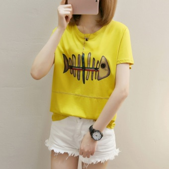 T-shirt Lengan Pendek Longgar Wanita Gaya Korea (271 (kuning)) (