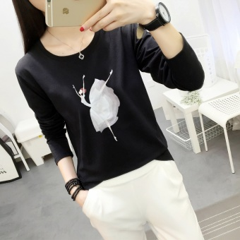Xianyuansu Kaos Wanita Lengan Panjang Model Longgar Motif Cetak Kartun Banyak Warna (127 (hitam